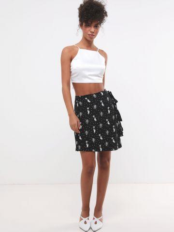 חצאית מעטפת מיני בהדפס נקודות