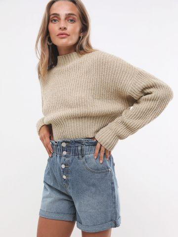 ג'ינס פייפרבאג קצר עם כפתורים