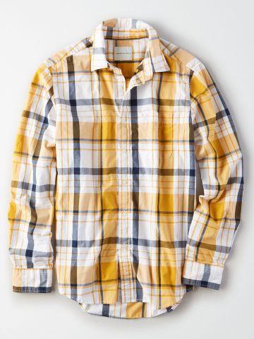 חולצת משבצות מכופתרת עם לוגו / גברים
