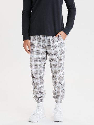 מכנסי ניילון בהדפס משבצות