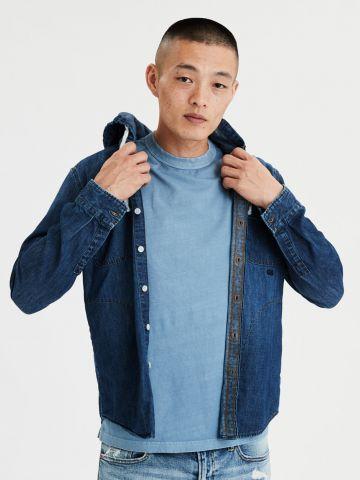 ג'קט ג'ינס עם כובע וכפתורים