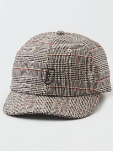 כובע מצחייה בהדפס משבצות עם לוגו / גברים