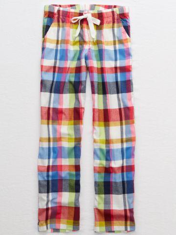 מכנסי פיג'מה בהדפס משבצות מולטי קולור
