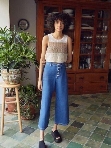 ג'ינס קרופ מתרחב עם כפתורים חשופים BDG