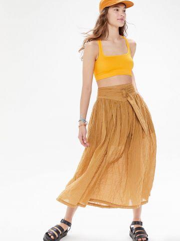חצאית מידי בהדפס פסים UO