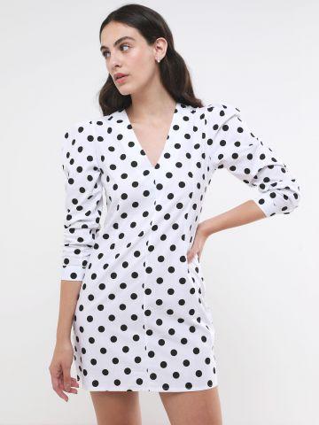 שמלת מיני בהדפס נקודות עם שרוולים נפוחים