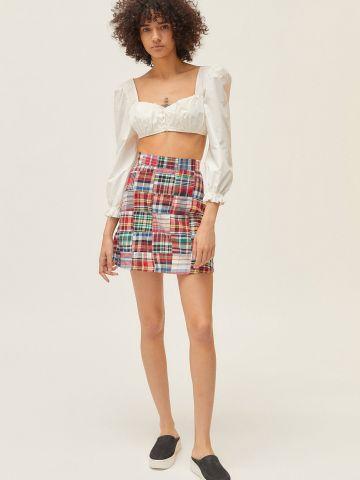 חצאית מיני בהדפס משבצות מולטי קולור UO