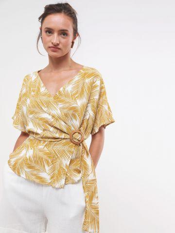 חולצת מעטפת וי בהדפס עלים טרופיים