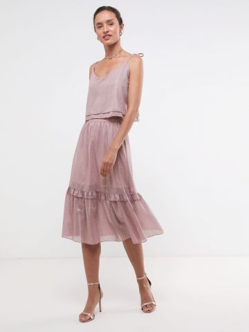 חליפת גופייה וחצאית עם עיטורים מטאליים X שושיין