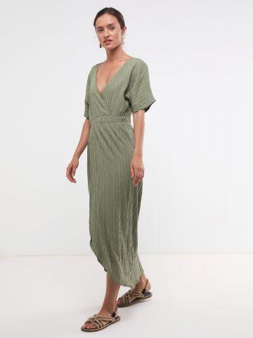 שמלת קרפ מקסי בסגנון מעטפת