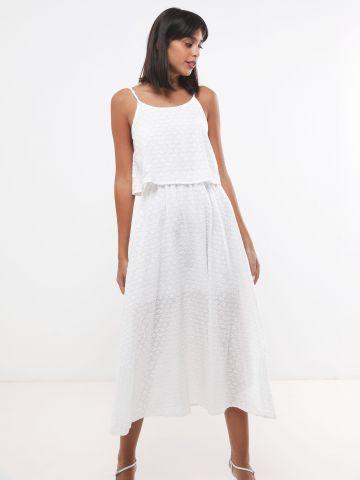 שמלת מקסי שכבות בעיטור רקמת עיגולים