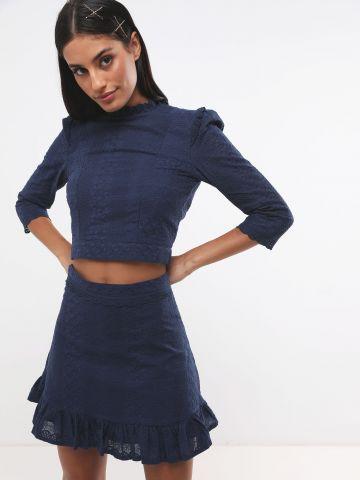 חצאית מיני עם עיטורי רקמה