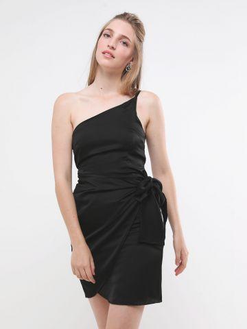 שמלת סאטן מיני וואן שולדר