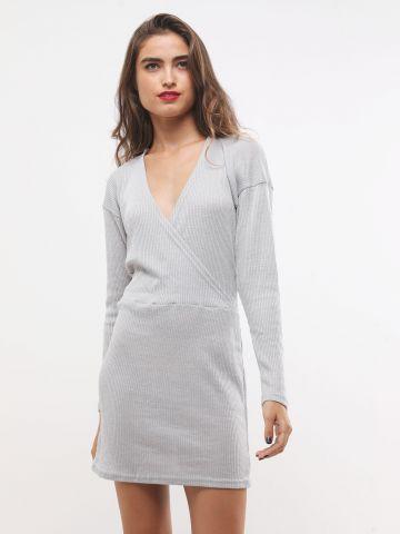 שמלת סריג ריב מיני מעטפת