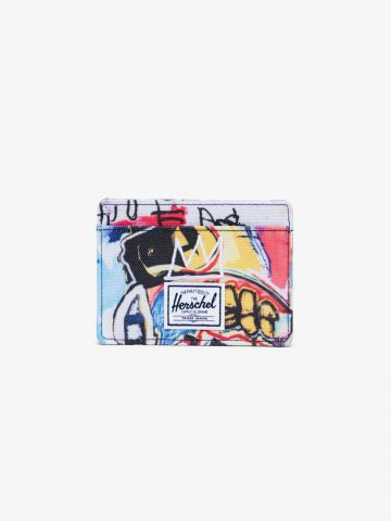 ארנק כרטיסים קנבס בהדפס גרפיטי Charlie Wallet X BASQUIAT