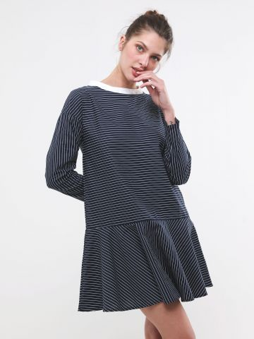שמלת מיני פפלום בהדפס פסים
