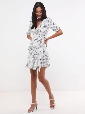 שמלת מעטפת בהדפס נקודות