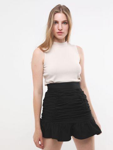 חצאית מיני פפלום עם כיווצים