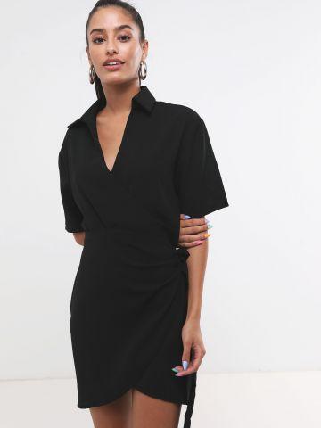 שמלת מעטפת מיני עם קשירה