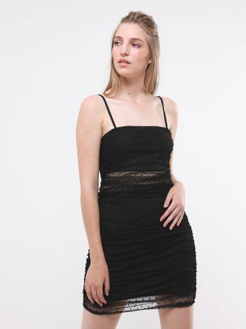 שמלת מיני רשת עם כיווצים