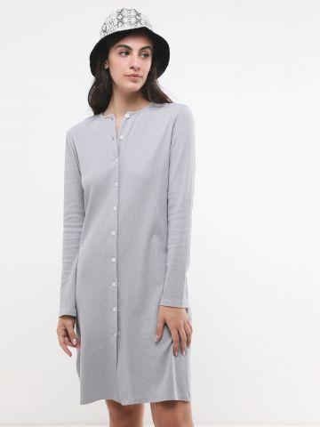 שמלת מיני ריב עם כפתורים