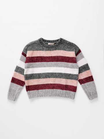 סוודר שניל פסים מולטי קולור / בנות