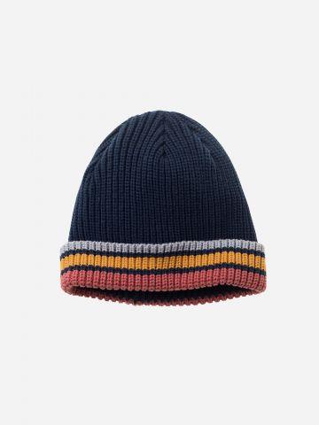כובע גרב סרוג עם פסים בסיומת / בנים