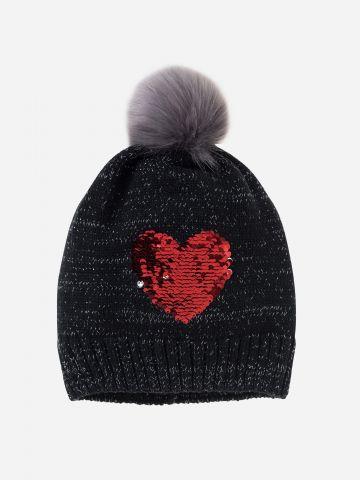 כובע גרב עם עיטור פאייטים ופונפון / בנות