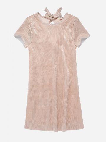 שמלת מיני פליסה עם קשירה בגב / בנות
