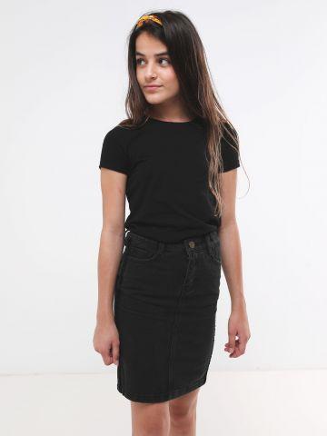 חצאית ג'ינס עם סטריפים קטיפה / בנות