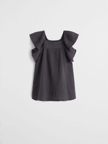 שמלת פיקה עם שרוולי מלמלה / 9-12M - 3-4Y