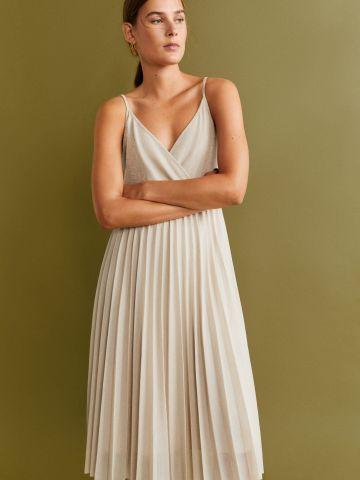 שמלת מידי פליסה מטאלית