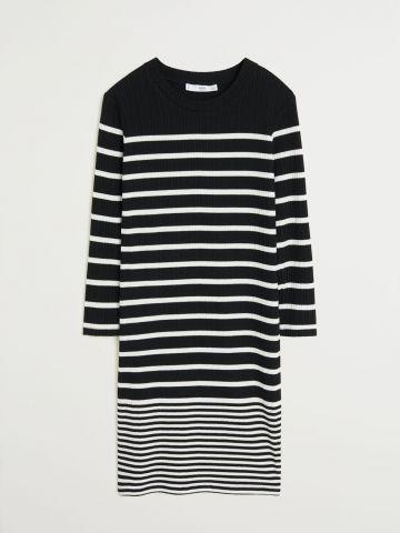 שמלת סריג מיני בהדפס פסים / נשים