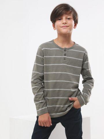 חולצה בהדפס פסים עם כפתורים / בנים