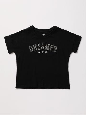 חולצה עם הדפס בעיטור פאייטים / בנות