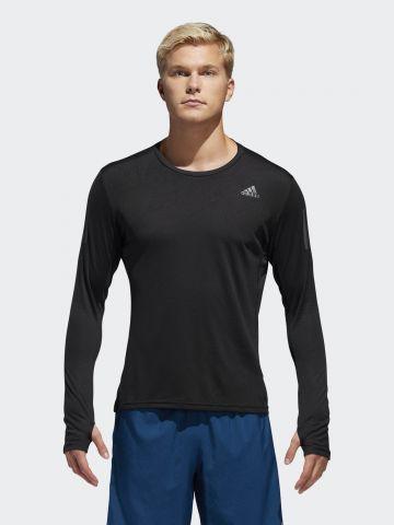 חולצת ריצה לוגו עם שרוולים ארוכים