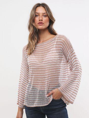 חולצת רשת סרוגה בדוגמת פסים של TERMINAL X
