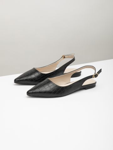 נעליים דמוי עור קרוקודיל עם רצועה אחורית
