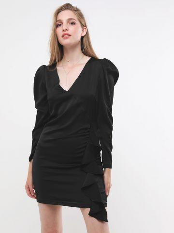 שמלת סאטן מיני עם מלמלה