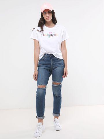 ג'ינס סקיני ארוך עם עיטורי קרעים 501(R)