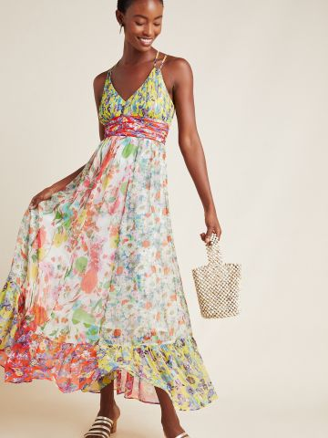 שמלת מקסי וי בהדפס פרחים