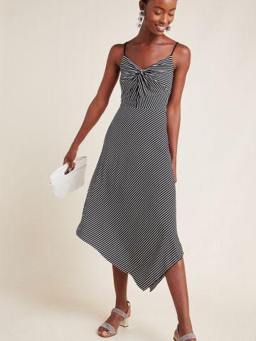 שמלת מידי פסים עם סיומת אסימטרית Bailey 44