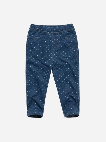מכנסיים דמוי ג'ינס בהדפס נקודות / 3M-3Y