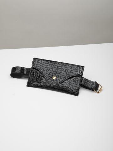 פאוץ' חגורה דמוי עור קרוקודיל / נשים
