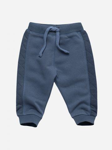 מכנסי מכנסי טרנינג ארוכים עם סטריפים קווילט / 0-3Y