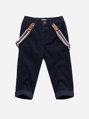 מכנסי קורדורוי עם כתפיות גומי בהדפס פסים / 3M-3Y