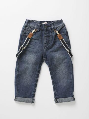 ג'ינס עם כתפיות גומי / 3M-3Y