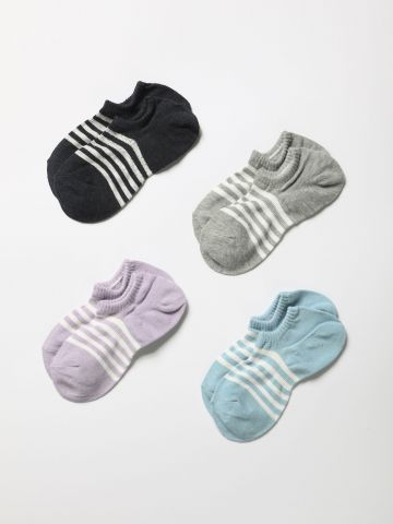 מארז 4 זוגות גרביים נמוכים עם הדפס פסים / נשים