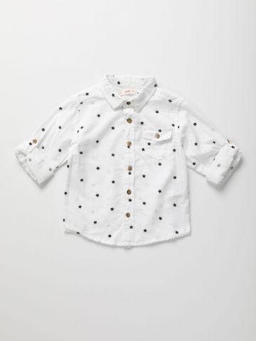 חולצה מכופתרת בהדפס כוכבים / 3M-3Y