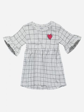 שמלה בהדפס משבצות עם שרוולים ארוכים / 3M-3Y